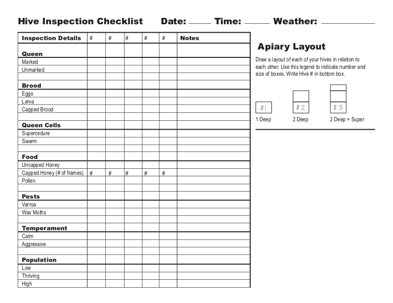 hive inspection checklist